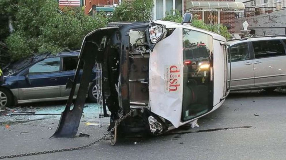 A garbage truck driver was charged with impaired driving and several other crimes after plowing into nine cars in Brooklyn, New York, on June 9, 2018.