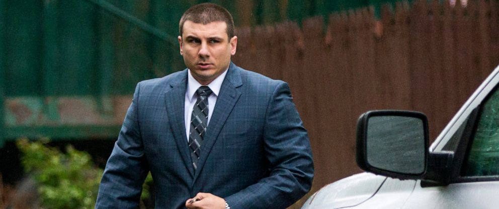 PHOTO:New York City police officer Daniel Pantaleo leaves his house, May 13, 2019, in Staten Island, N.Y. A long-delayed disciplinary trial is set to begin Monday for Pantaleo, accused of using a banned chokehold in the July 2014 death of Eric Garner.