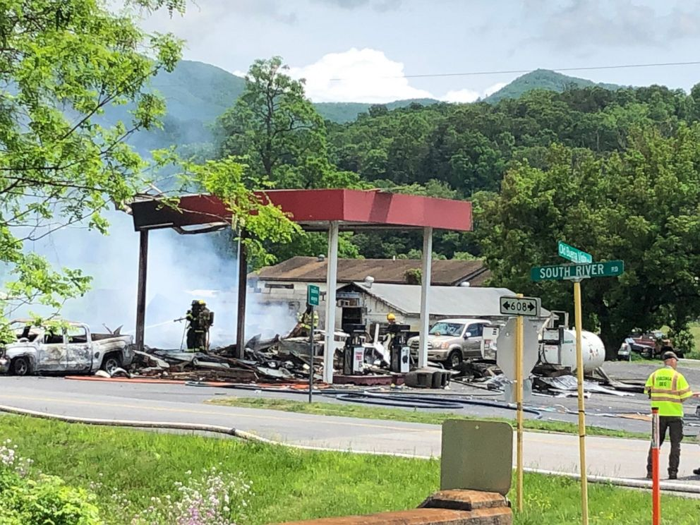 PHOTO: Firefighters on the scene of an apparent explosion at a gas station in Buena Vista, Va., May 10, 2019.