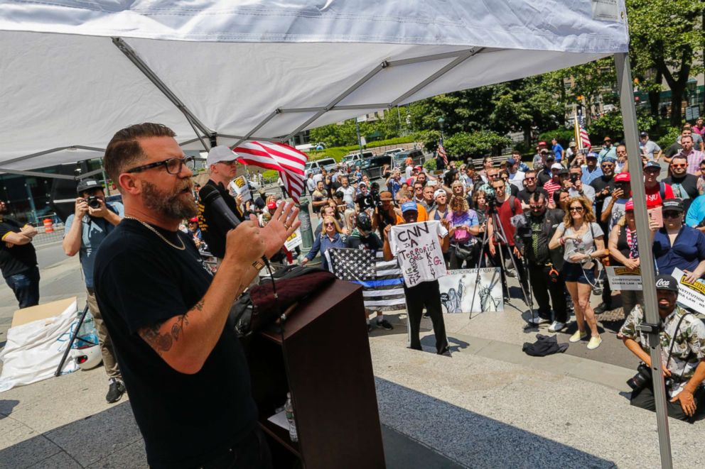 PHOTO: Gavin McInnes speaks to activists as they take part in the March Against Sharia, June 10, 2017, in New York City.