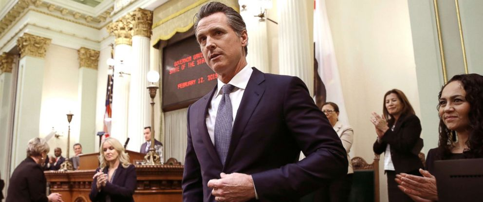 PHOTO: In this Feb. 12, 2019, file photo, Calif., Gov. Gavin Newsom receives applause after delivering his first State of the State address to a joint session of the legislature at the Capitol in Sacramento, Calif.