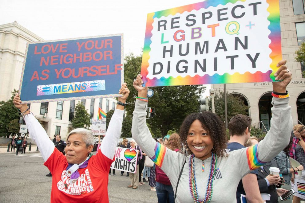 PHOTO: Gay and transgender activists demonstrated as the U.S. Supreme Court heard oral arguments in cases dealing with workplace discrimination based on sexual orientation, in Washington D.C. on Oct. 8, 2019.