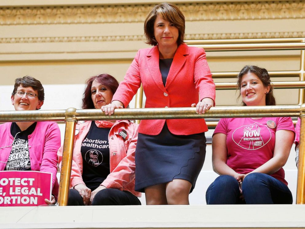 PHOTO: Gayle Goldin, a Providence Democrat and lead sponsor of Rhode Islands abortion-rights bill, poses for a portrait with pro-choice supporters at the Rhode Island State House in Providence, May 15, 2019.