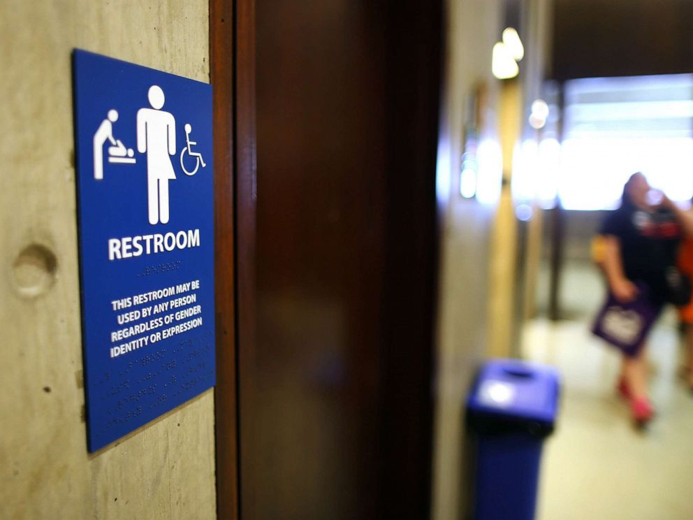 PHOTO: Sign for a gender-neutral bathroom at Boston City Hall, May 15, 2016.