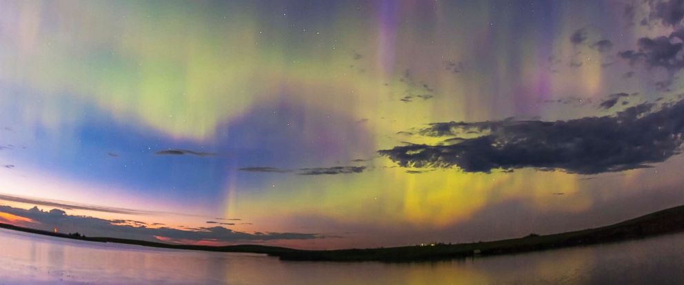 PHOTO: The all-sky aurora of June 22, 2015, during a level 7 to 9 geomagnetic storm, as the display began already active in the twilight of a solstice night.