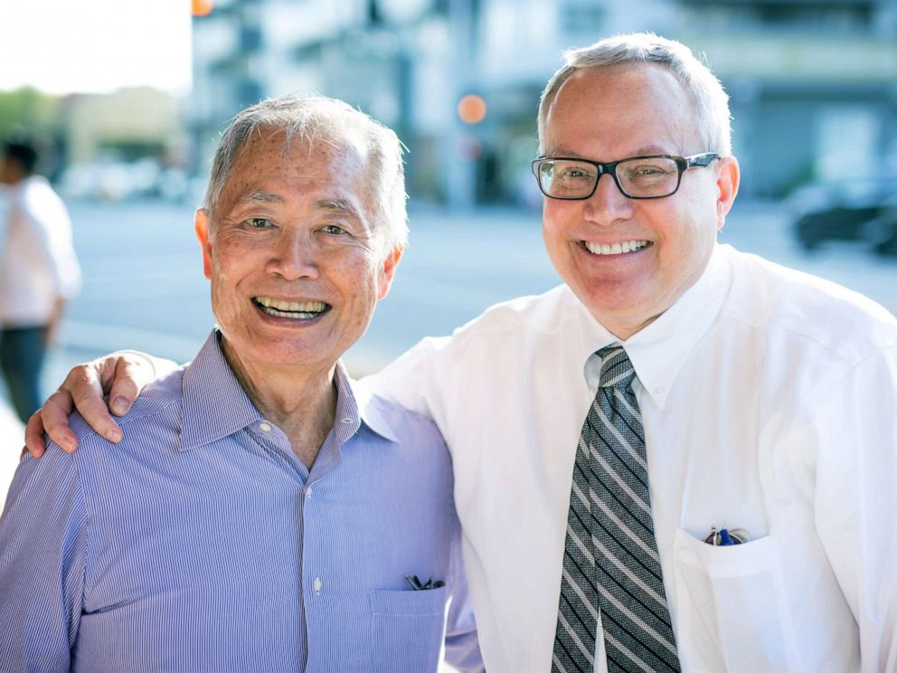 PHOTO: Actor George Takei and husband Brad Takei, right, attend the opening night of King Of The Yees at the Kirk Douglas Theatre, July 16, 2017, in Culver City, California.