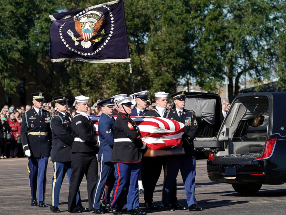 PHOTO: The flag-draped casket of former President George H.W. Bush is carried by a joint services military honor guard in Houston, Dec. 3, 2018.