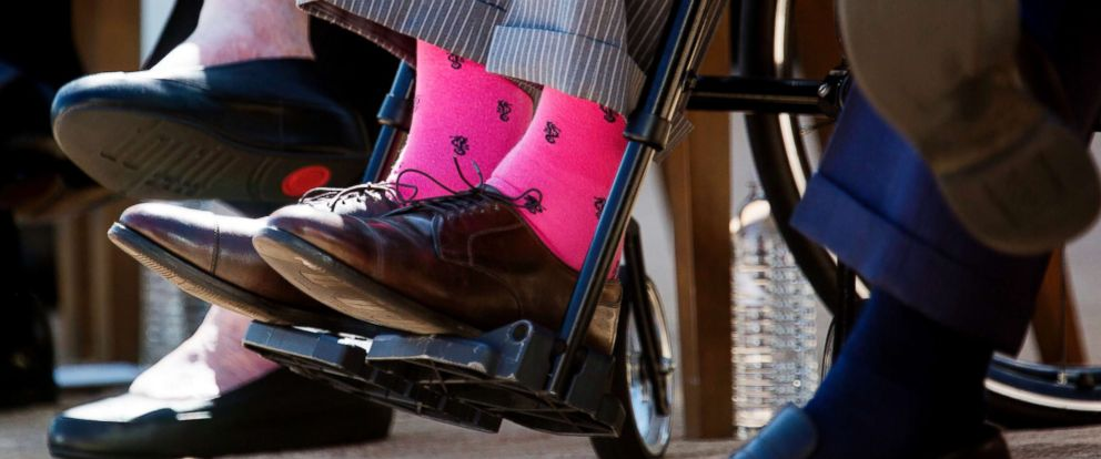 PHOTO: Former President George H.W. Bushs colorful socks at the dedication of the George W. Bush presidential library on the campus of Southern Methodist University in Dallas, April 25, 2013.
