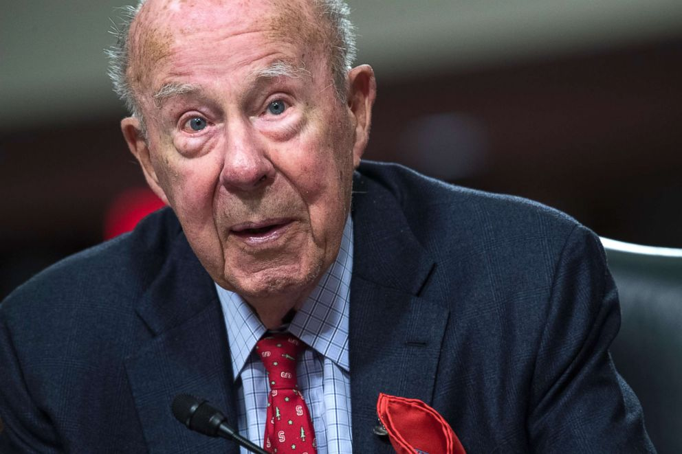 PHOTO: Former Secretary of State George Shultz, testifies before a Senate Armed Services Committee hearing, Jan. 25, 2018, in Washington, DC.