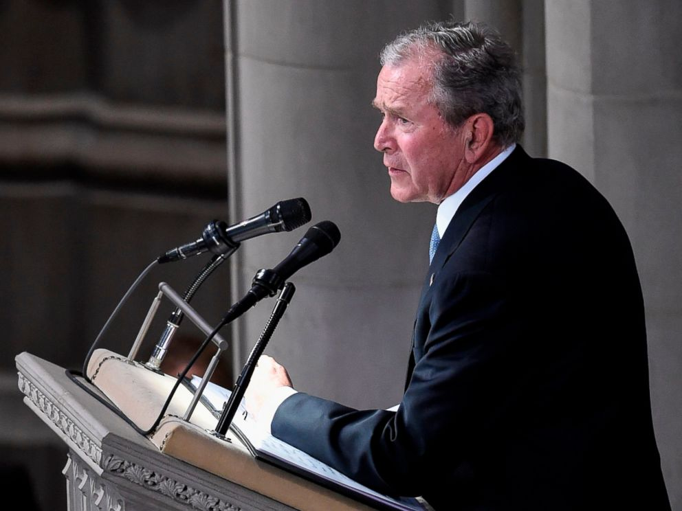 PHOTO: Former President George W. Bush speaks during a memorial service for Sen. John McCain at the Washington National Cathedral in Washington, D.C., Sept. 1, 2018.