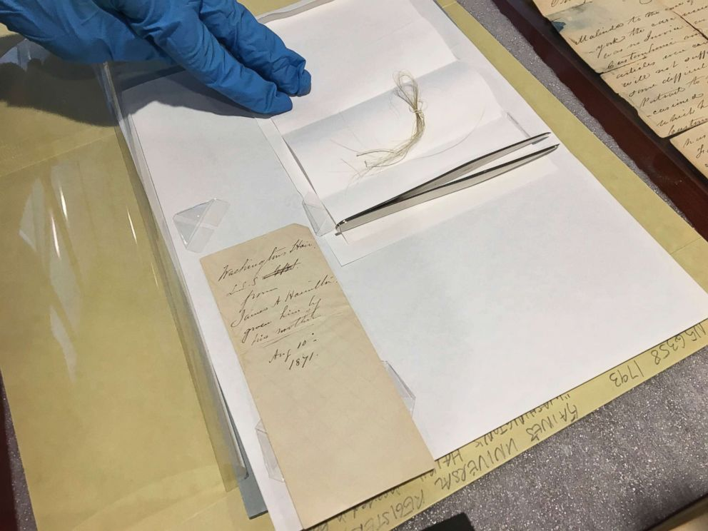 PHOTO: A lock of George Washingtons hair and the envelope that contained it are seen on a table in the Union College library in Schenectady, N.Y., Feb. 14, 2018.