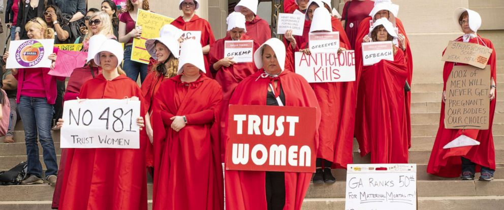 """PHOTO: Dozens of demonstrators protested against the """"heartbeat bill"""" legislation at the Georgia State Capitol building, March 15, 2019."""