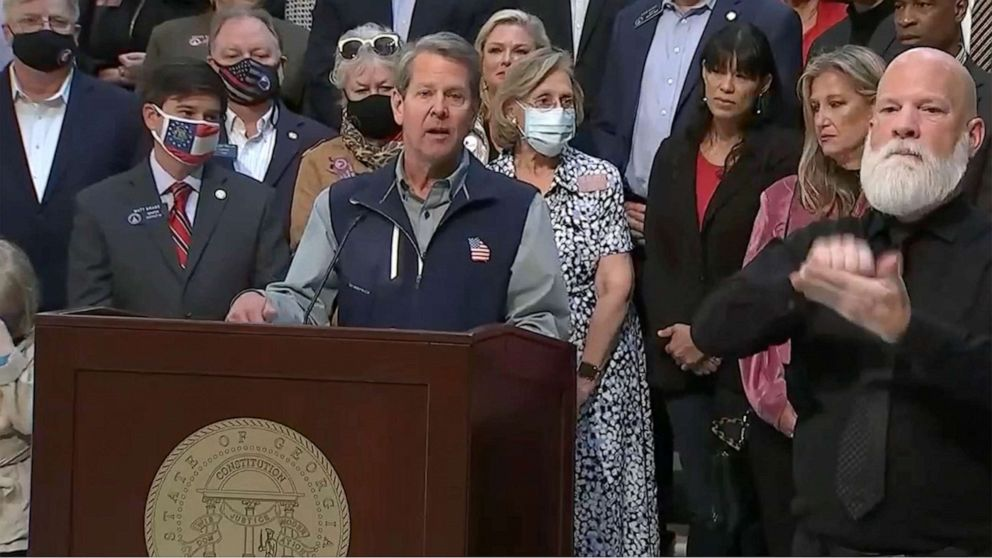 PHOTO: Georgia Gov. Kemp holds  a press conderence in response to the Major League Baseball decision to move the All-Star Game out of Atlanta, April 3, 2021.