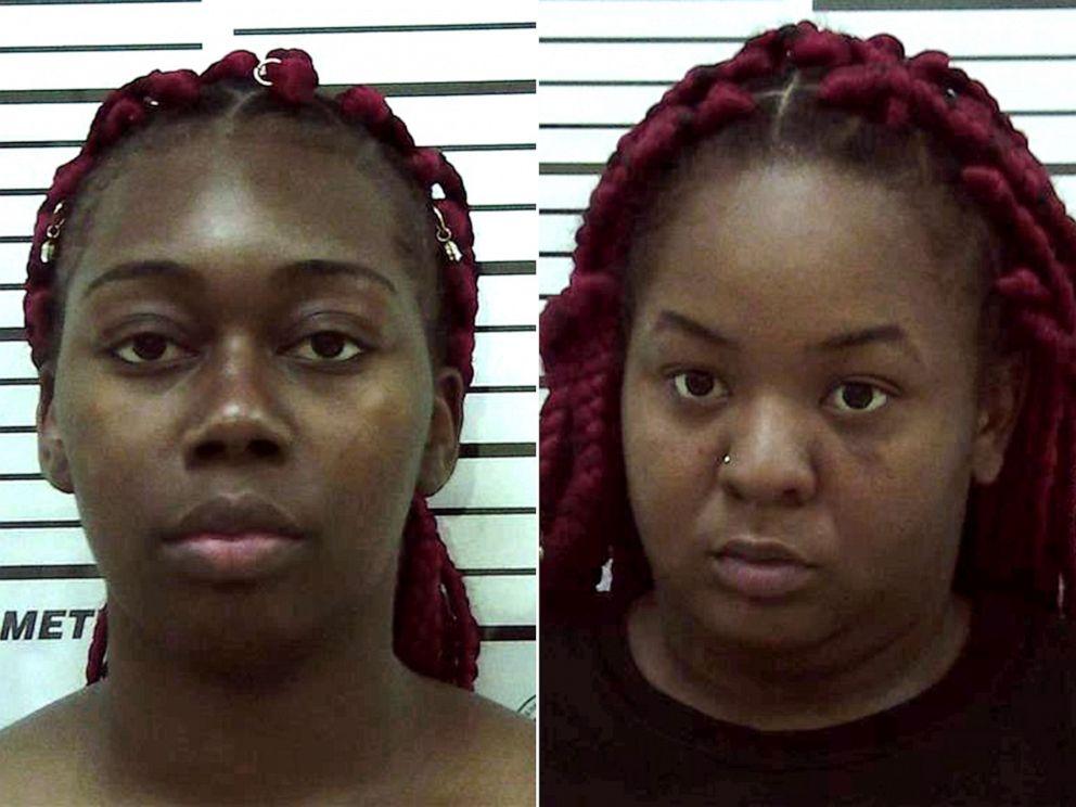 PHOTO: Karen Lashun Harrison and Carneata Clark in police booking photos.