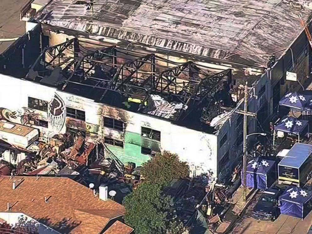 This Dec. 3, 2016, file image from video provided by KGO-TV shows the Ghost Ship Warehouse after a fire swept through the building in Oakland, Calif.