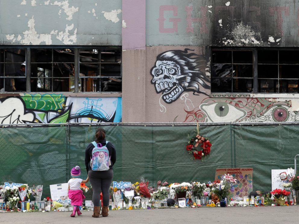 This Dec. 13, 2016 file photo shows flowers, pictures, signs and candles, are placed at the scene of a warehouse fire in Oakland, Calif.