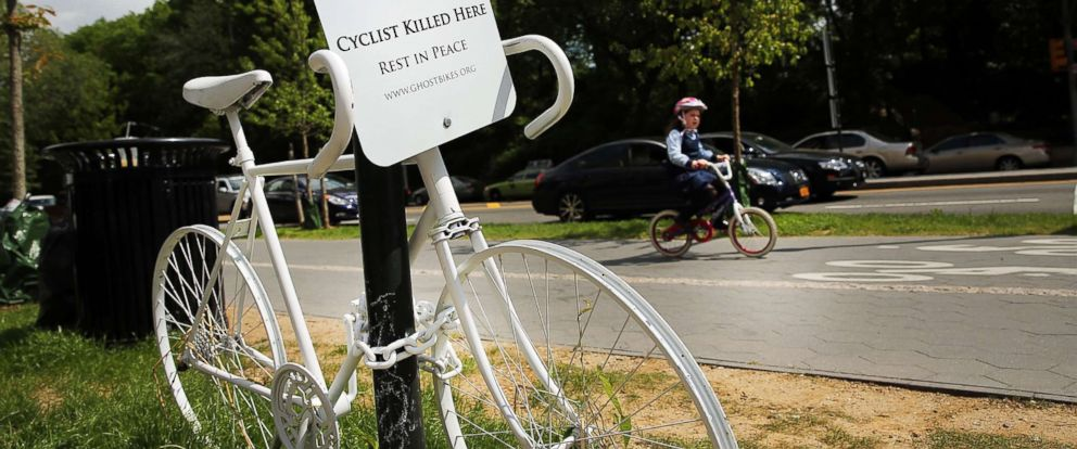 "PHOTO: A ""Ghost Bike"", which are used to signify a fatality involving a bicycle, is viewed along a street on May 30, 2014, in the Brooklyn borough of New York City."