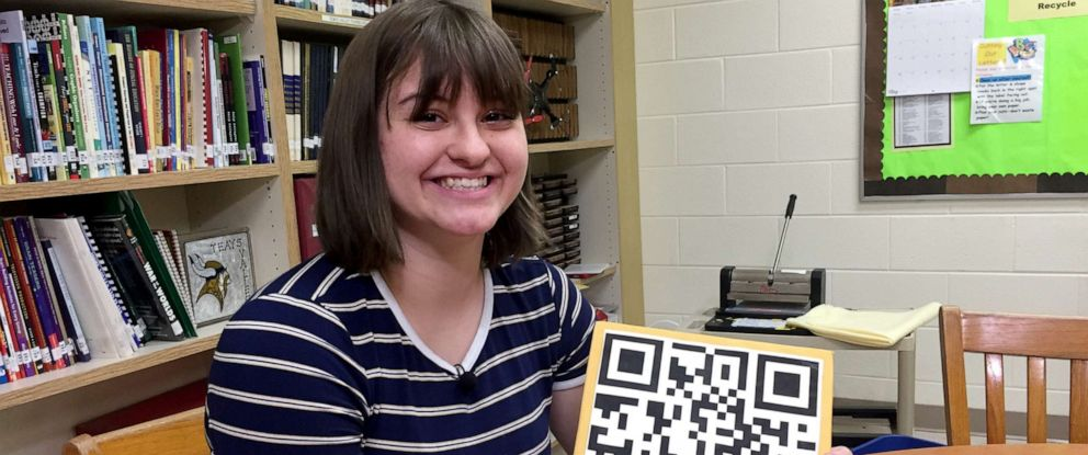 PHOTO: High school senior Gina Warren, 18, decorated her graduation cap with a QR code that leads people to a list she created of all the American high school students who have died in a school shooting since Columbine in 1999.