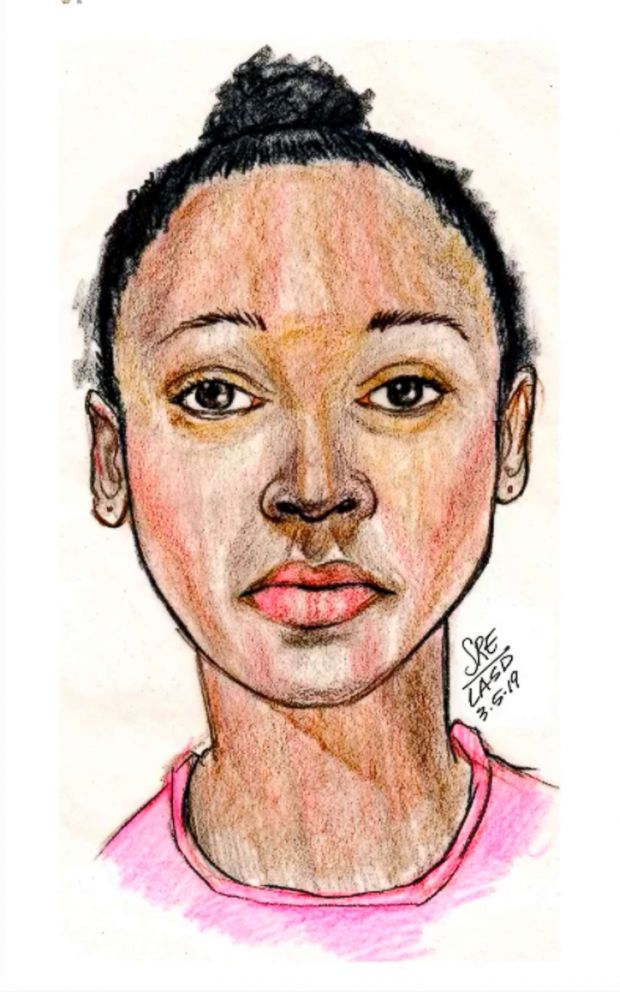 This sketch provided by the Los Angeles County Sheriff's Department shows the clothing found on a girl whose body was found along a Southern California hiking trail, as they seek the public's help in identifying her.