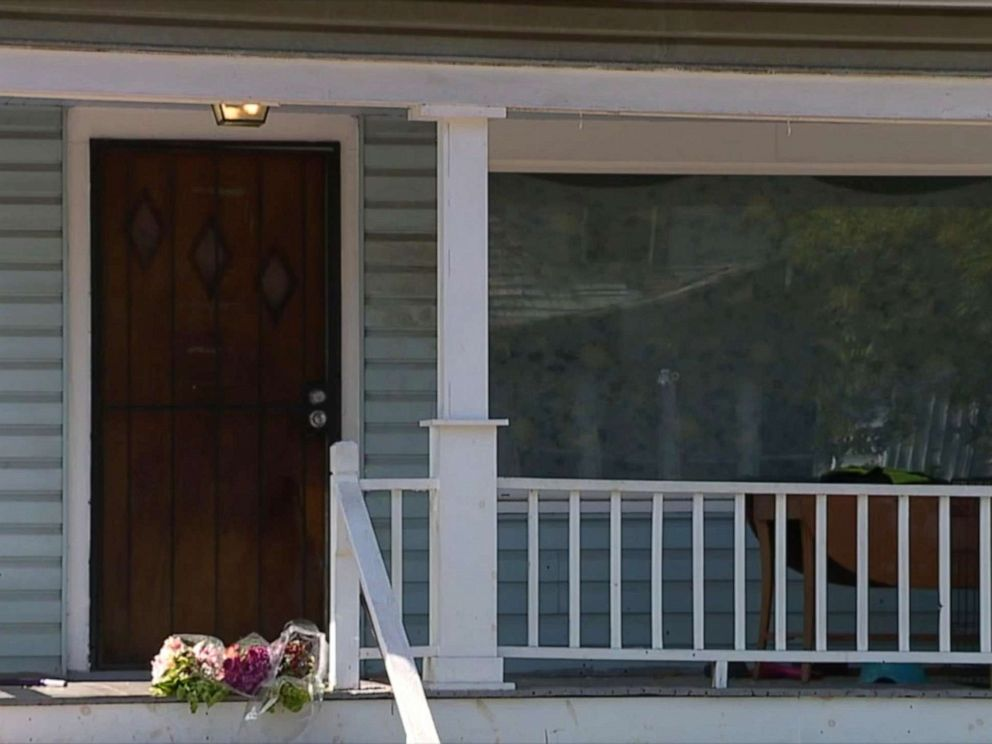 PHOTO: Flowers left on the porch of a home in Cleveland where a six-year-old girl was shot in the head and killed as she slept, Oct. 5, 2019.
