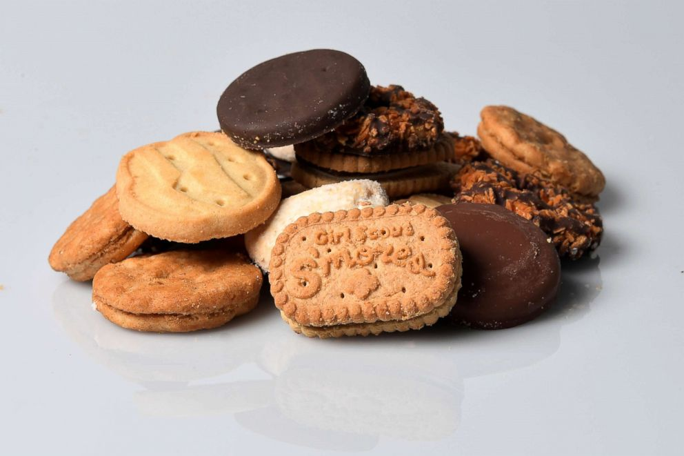 The seven Girl Scout cookies are seen here.