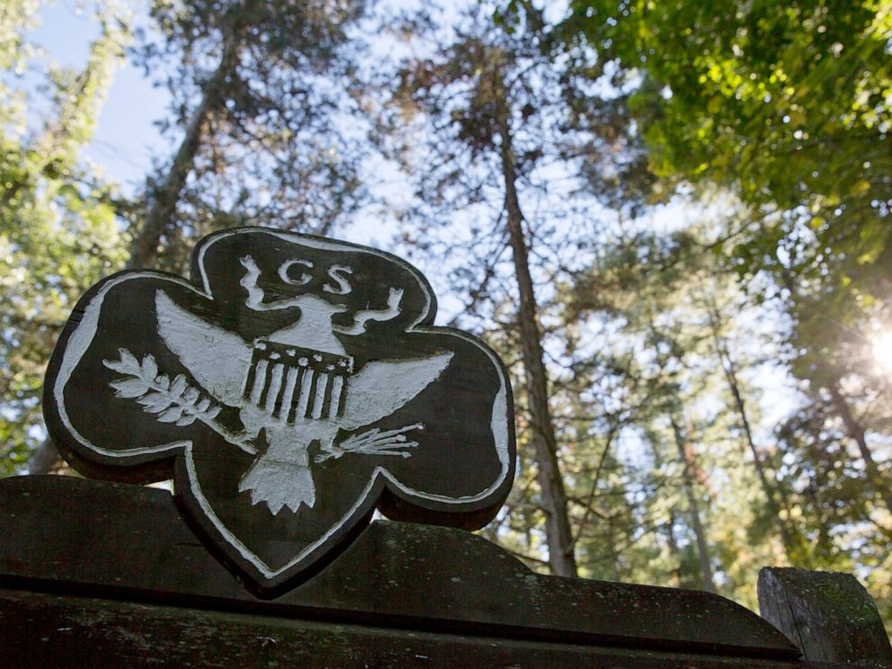 PHOTO: This Monday, Sept. 22, 2014 file photo shows the official Girl Scouts crest at the entrance of a Girl Scout Camp in Lapeer, Mich.