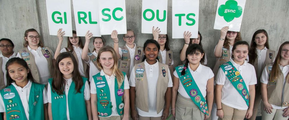 PHOTO: Group portrait of Girl Scouts as they pose during the Chocolate Expo at the Cradle of Aviation Museum, Garden City, New York, March 6, 2016.