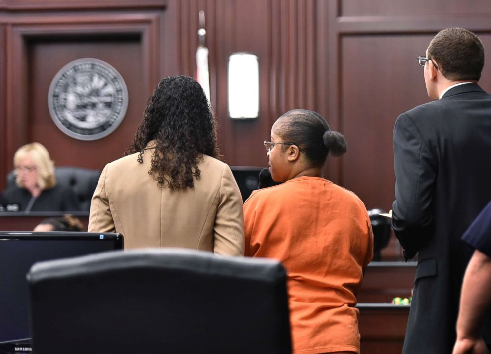 PHOTO: Gloria Williams stands with her attorneys as she is sentenced by Judge Marianne Aho in the kidnapping of newborn Kamiyah Mobley, June 8, 2018 at the Duval County Courthouse in Jacksonville, Fla.