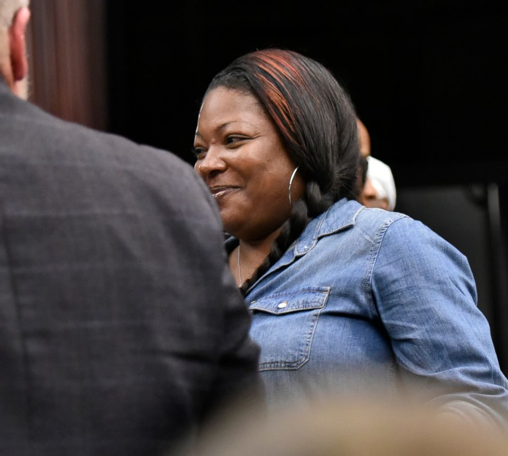 PHOTO: Shanara Mobley, birth mother of Kamiyah Mobley, smiles as she leaves the sentencing of Gloria Williams, June 8, 2018 at the Duval County Courthouse in Jacksonville, Fla.