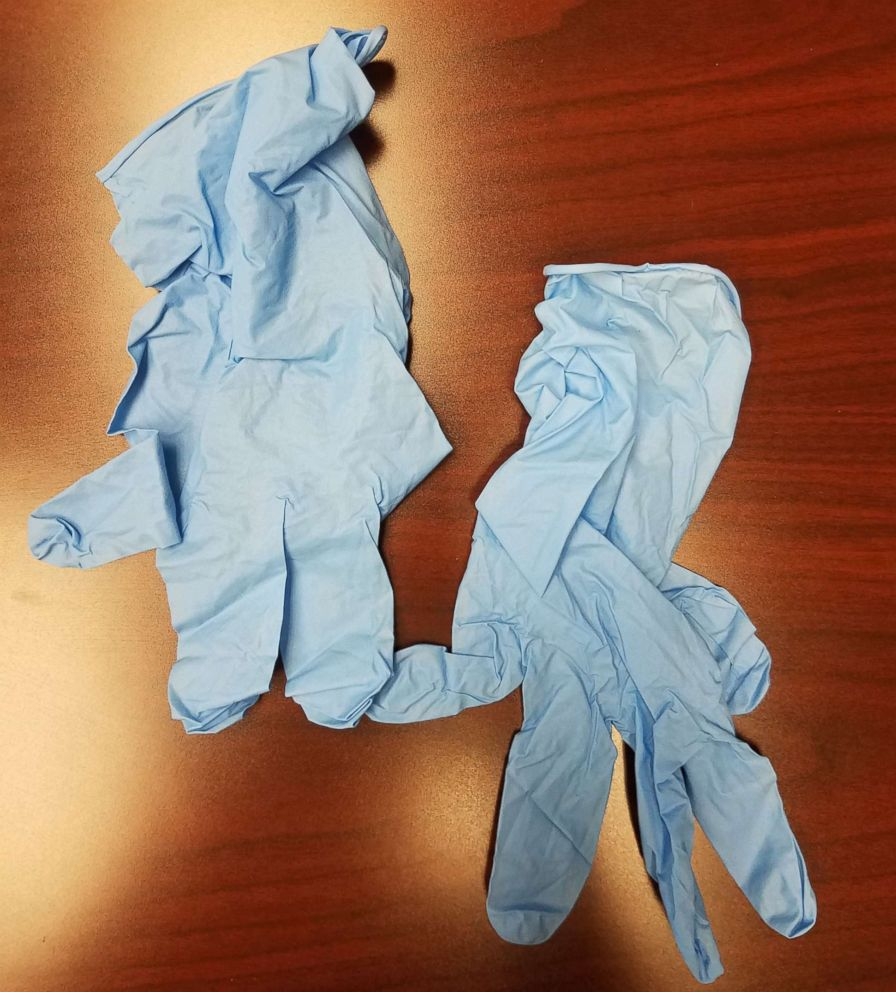 PHOTO: A pair of blue-colored gloves were sent to a Detroit woman after she complained to Samsung that her mobile devices caught fire, May 21, 2018.