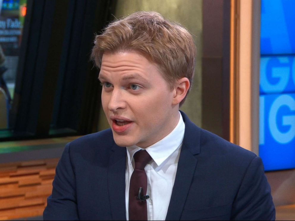 PHOTO: Ronan Farrow speaks to George Stephanopoulos on Good Morning America, Feb. 16, 2018.