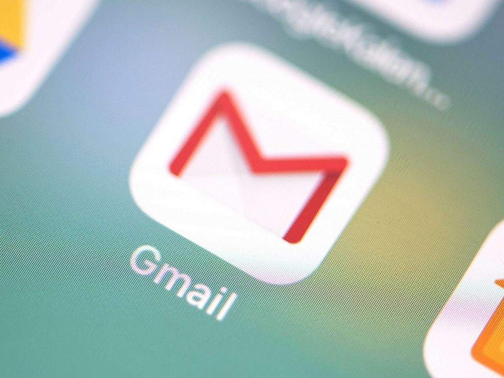 PHOTO: The logo of the Gmail application can be seen on the screen of an iPhone.