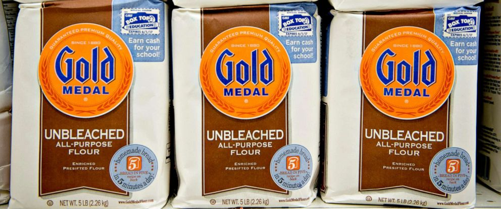 PHOTO: General Mills Inc. Gold Medal flour sits on display at a supermarket in Princeton, Illinois, Sept. 17, 2013.