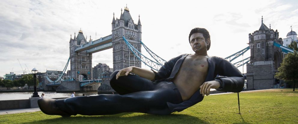PHOTO: To celebrate 25 years since Jurassic Park first premiered in the UK, the streaming service NOW TV unveiled a Jeff Goldblum statue at Potters Field Park, July 18, 2018, in London.