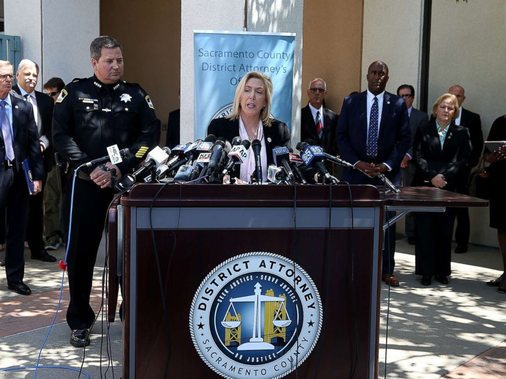 PHOTO: Sacramento district attorney Anne Marie Schubert announces the arrest of accused rapist and killer Joseph James DeAngelo during a news conference on April 25, 2018 in Sacramento, California.