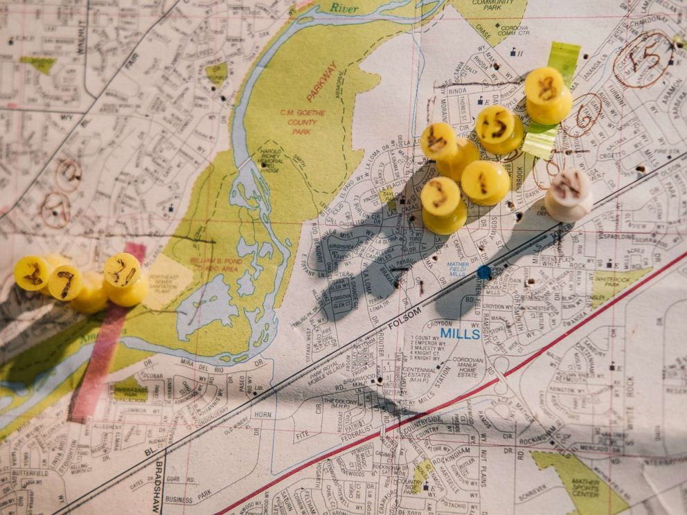 PHOTO: A map with numbered thumbtacks indicating the attacks by the East Area Rapist, also known as the Golden State Killer.