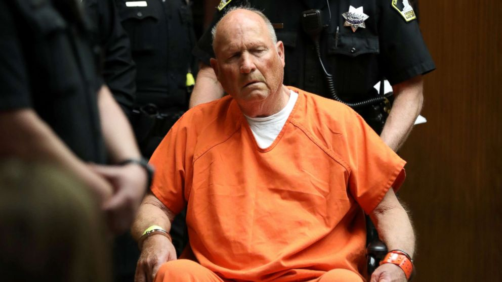 """Joseph James DeAngelo, 72, who authorities said was identified by DNA evidence as the serial predator dubbed the """"Golden State Killer,"""" appears at his arraignment in California Superior court in Sacramento, Calif., April 27, 2018."""