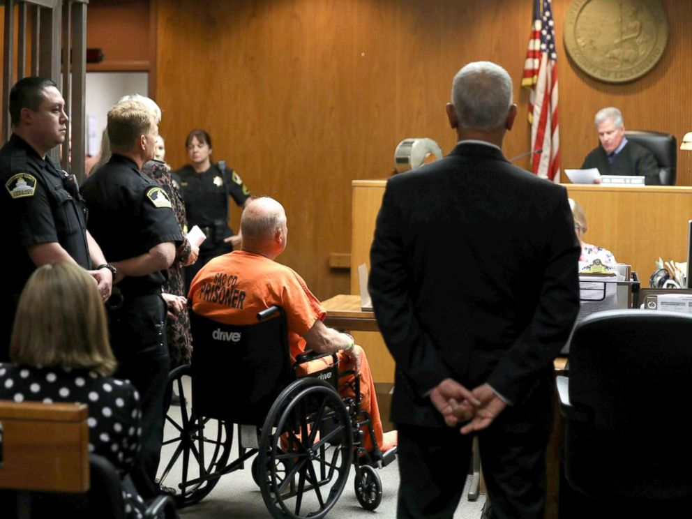 PHOTO: Joseph James DeAngelo, 72, who authorities said was identified by DNA evidence as the serial predator dubbed the Golden State Killer, appears in a wheelchair at his arraignment in California Superior court in Sacramento, Calif., April 27, 2018.