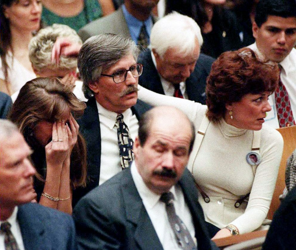 PHOTO: Members of murder victim Ron Goldman family react to the not guilty verdicts in the O.J. Simpson murder trial, Oct. 3, 1995 in Los Angeles.