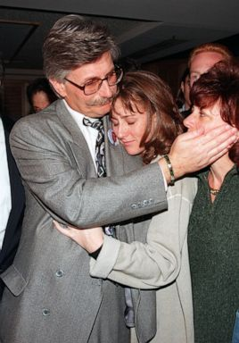 PHOTO: In this Feb. 4, 1997 file photo, Fred Goldman is hugged by his daughter Kim while patting his wife Pattis cheek during a news conference after the verdict in the wrongful death suit against O.J. Simpson in Santa Monica, Calif.