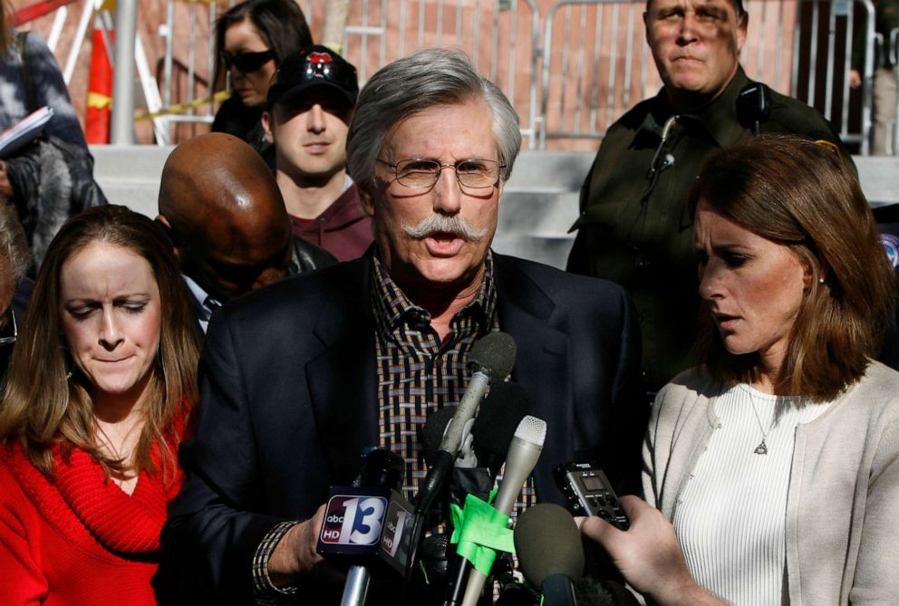 PHOTO:Fred Goldman (C), father of Ron Goldman, speaks to reporters after O.J. Simpsons sentencing as Lauren Luebker (L) and Kim Goldman (R) Ron Goldmans sister, listen at the Clark County Regional Justice Center, Dec. 5, 2008 in Las Vegas.