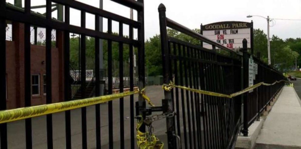 Police in Sanford, Maine, had chained the gate shut where a driver busted through and hit a man, killing him, at baseball game on Friday, June 1, 2018.