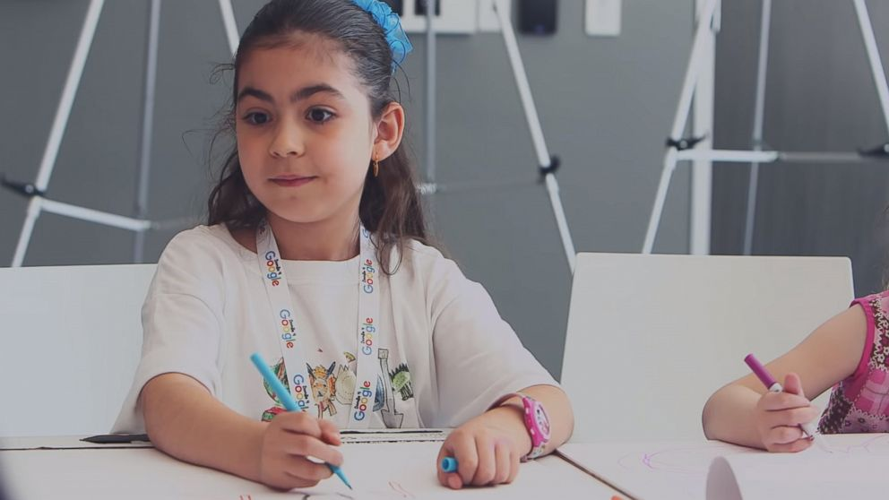Sarah Gomez-Lane, 6, was named the 2018 winner of the nationwide Doodle for Google contest for her interactive dinosaur drawing.