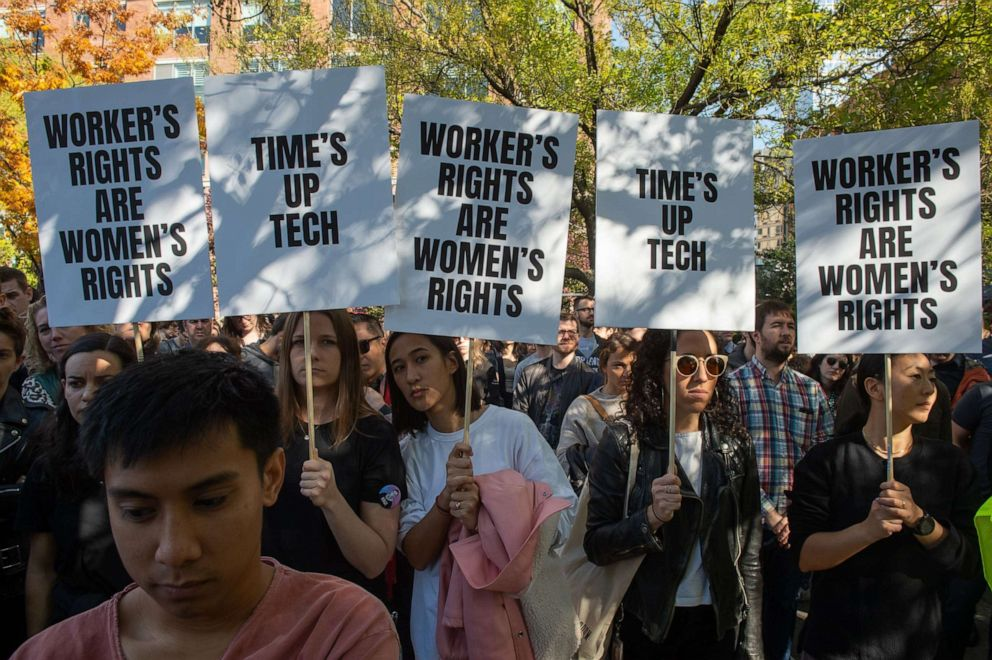 PHOTO: Google employees stage a walkout on November 1, 2018, in New York, over sexual harassment.
