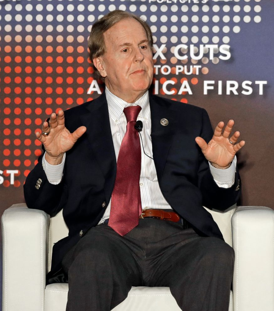 PHOTO: Rep. Robert Pittenger speaks at an event on tax policy in Charlotte, N.C., April 20, 2018. Pittenger features Trump prominently in his campaign.