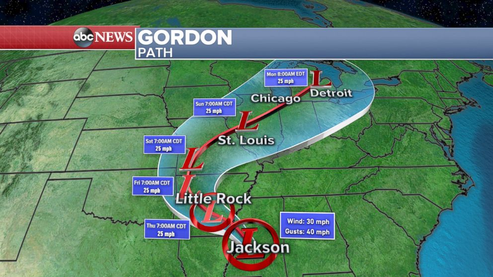 PHOTO: Path of Tropical Depression Gordon.