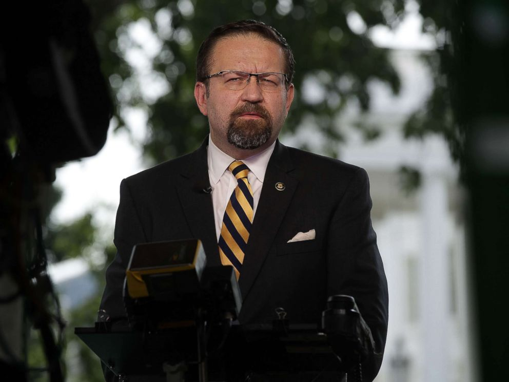 PHOTO: White House Deputy Assistant to the President Sebastian Gorka speaks during an interview with Fox News remotely from the White House, June 22, 2017 in Washington, D.C.