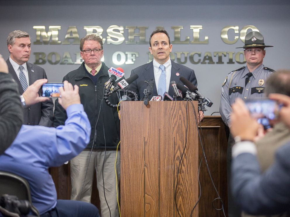 PHOTO: Gov. Matt Bevin speaks during a media briefing at the Marshall County Board of Education following a shooting at Marshall County High School in Benton, Ky., Jan. 23, 2018.