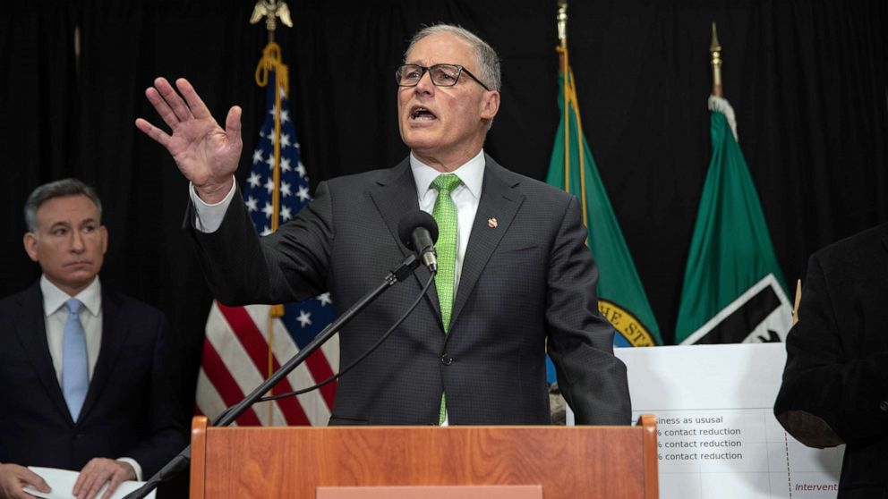 PHOTO: In this March 11, 2020, file photo, Washington State Governor Jay Inslee speaks at a press conference in Seattle.