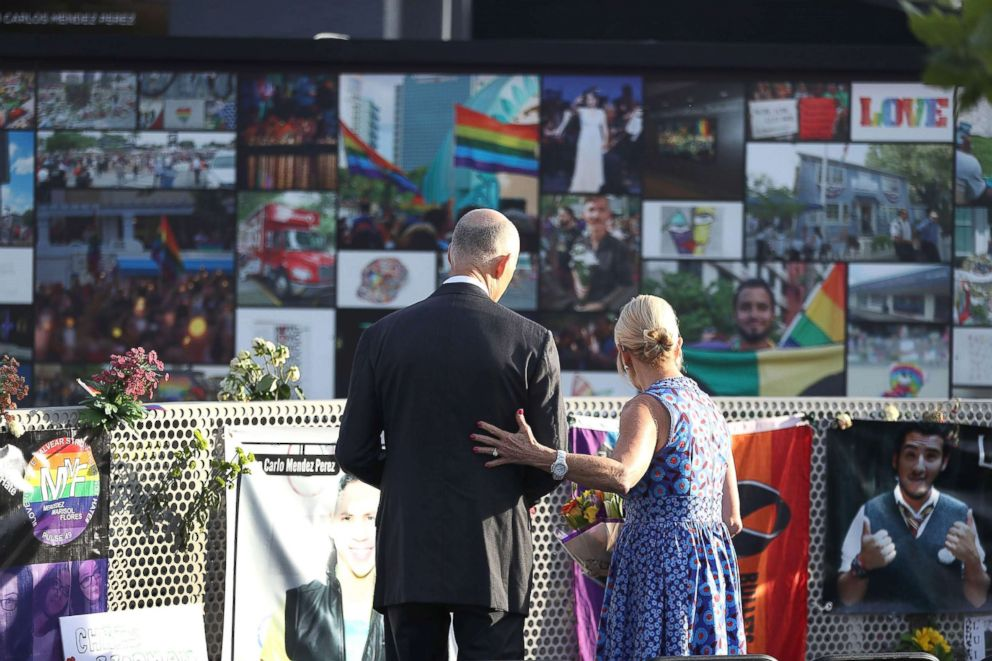 PHOTO: Florida Governor Rick Scott and First Lady Ann Scott visit the memorial to the 49 shooting victims setup at the Pulse nightclub where the shootings took place two years ago, June 12, 2018, in Orlando, Fla.
